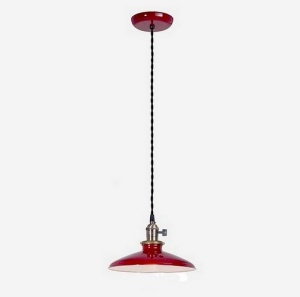 Pendant Light Industrial Style Fixture w/ Red Shade Porcelain Enamel (Image1)
