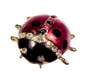 Jessica Lauren Ladybug Pin Austrian Crystal Brooch Bug
