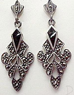 Sterling Silver Marquisite Onyx Dangle Pierced Earrings (Image1)