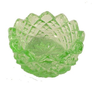 Depression Green Sawtooth Glass Open Salt Dip Cellar