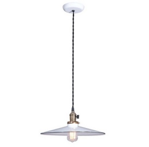 Industrial Style Pendant Light Fixture w 14 in White Shade Porcelain (Image1)