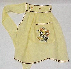 Vintage Yellow Organdy Party Apron W/ Pansies Like New