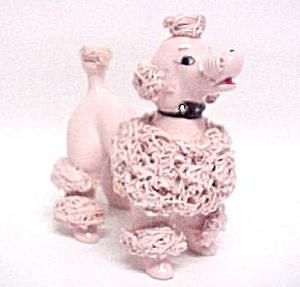 vintage pink spagetti poodle figurine napco rhinestones  image1