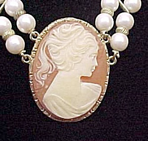 1928 Cameo 2 Strand Faux Pearl Choker Necklace Vintage (Image1)
