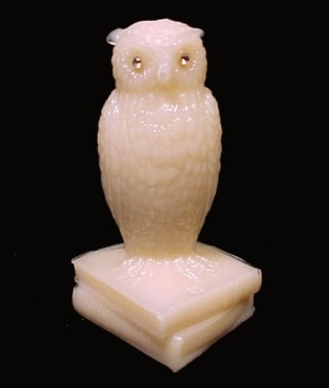 Westmoreland Glass Almond Owl On Books Figurine Figure