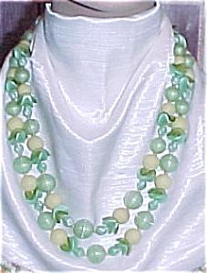 W Germany Vintage Plastic 2 strand beaded Necklace (Image1)