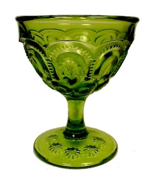 Green Moon and Stars 6 oz Sherbet LE L E Smith Heritage Glass Pattern (Image1)