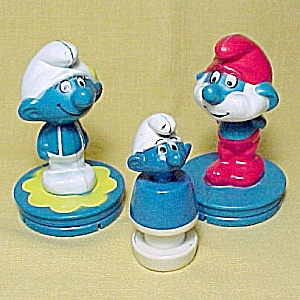 Set Of 3 Peyo 1982 Smurf Figures Kids Childs Toys Figurines
