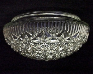 Art Deco Glass Ceiling Light Shade Vintage 8 in Clear Pan (Image1)