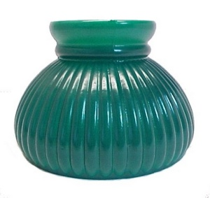 Ribbed Green Glass 6 in Student Oil Lamp Light Shade Kerosene Electric (Image1)