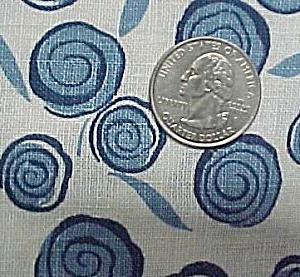Feedsack Vintage Cotton Quilt Fabric Blue White Floral
