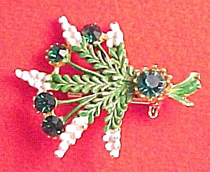 Enameled Bouquet Brooch Pin Emerald Green Rhinestones (Image1)