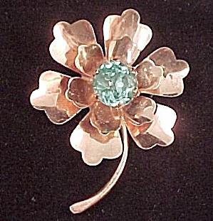 Vintage Sterling Silver Flower Pin Brooch Rhinestone (Image1)