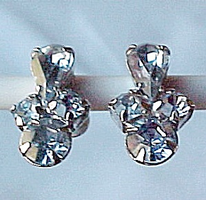 Sky Blue Faceted Rhinestone Earrings Screw On Vintage Silvertone