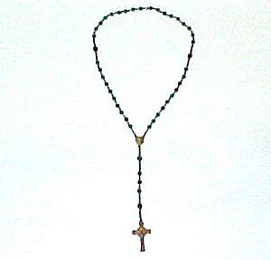 Emerald Green Faceted Glass Bead Brass Rosary Catholic (Image1)