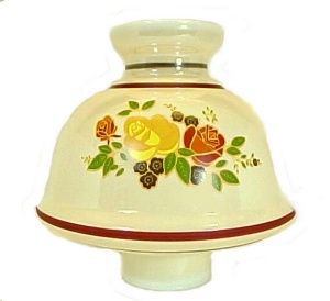 Rose Floral Chimney Lamp Shade Glass 3 X 7 3/4 X 8 Gold Iridescent