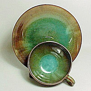 Vintage Green Brown Drip Glaze Pottery Cup Saucer Plate (Image1)