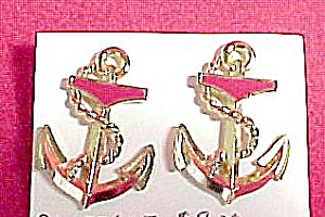 Nautical Ship Boat Anchor Earrings Red Enameled Vintage (Image1)