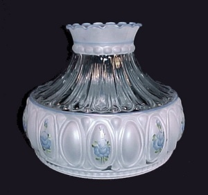 Frosted Lamp Shade Blue Roses 10 in Glass  Oil Fits Aladdin Student (Image1)