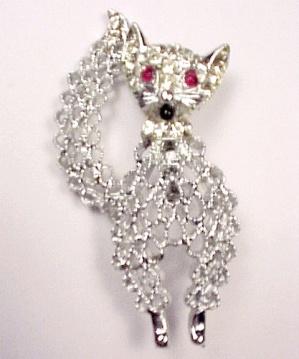 Rhinestone Cat Pin Brooch Silvertone Openwork Jewelry (Image1)