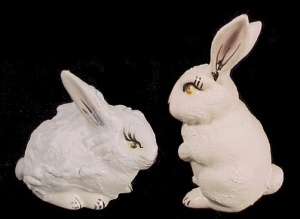 Fluffy White Easter Bunny Rabbit Hand Made Ceramic Pair (Image1)