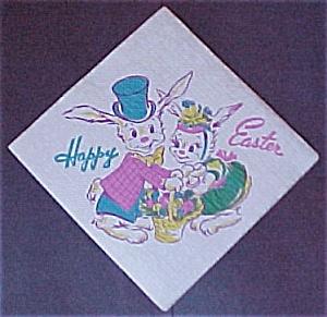 Vintage Easter Napkin Bunny Rabbit Basket Egg 1950s (Image1)
