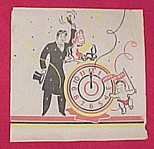 1950s Happy New Year's Eve Day Party Napkin Baby Clock (Image1)
