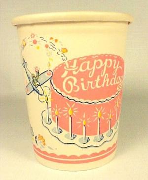 1950s Happy Birthday Cake Paper Party Cup Ephemera (Image1)