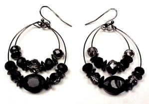 Black Smoke Gray Faceted Glass Hematite Hoop Dangle Drop Earrings Hook