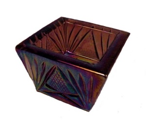 Amethyst Carnival Glass Square Open Salt Dip Cellar