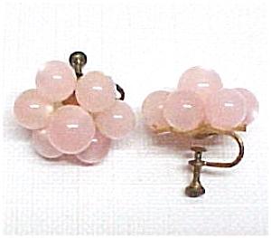 Vintage Pink Lucite Moonglow Flower Screwback Earrings (Image1)