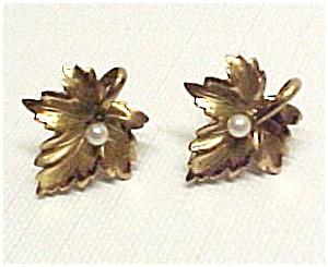 Vintage Winard 1/20 12K gf LEAF Earrings w/ Faux Pearls (Image1)