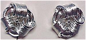 Lisner Silvertone Screw Earrings Mint on Card (Image1)