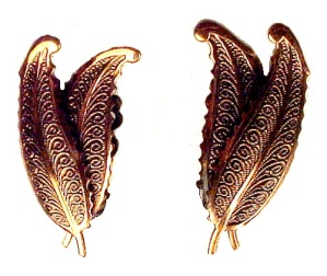 Copper Ornate Feather Fern Leaf Clip On Earrings (Image1)