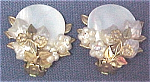 Mother of Pearl & Brass Clip Earrings Robert? Haskell (Image1)