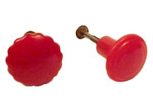 Vintage Red Bakelite Drawer Cabinet Cupboard Knob Pulls (Image1)