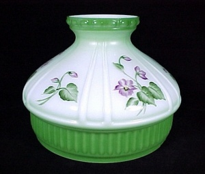 Aladdin Green Violets Kerosene Oil Lamp Shade Glass 10 in Model 12 New (Image1)