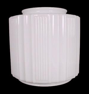 Art Deco Ceiling Pendant Light Shade Ribbed Milk Glass Vintage (Image1)