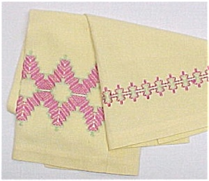 Vintage Huck Weave Kitchen Dish Towel Pink Yellow Green (Image1)