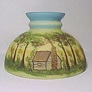 Log Cabin Scene 10 in Kerosene Oil Student Lamp Shade Glass (Image1)