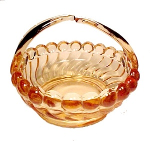 Westmoreland Glass Basket Golden Sunset Ball & Swirl