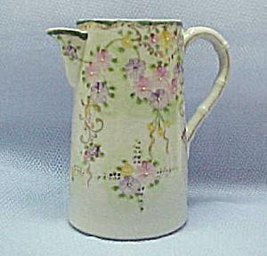 Oriental Pastel Floral Pitcher Teapot Coffeepot /Enamel (Image1)