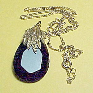 Leaves & Black Glass Prism Pendant Necklace Goldtone (Image1)