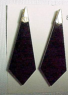 Geometric Black Onyx Pierced Dangle Earrings 14K GF (Image1)