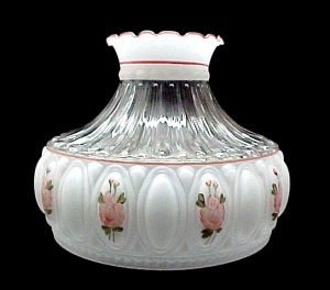 Pink Rose Crystal Aladdin Kerosene Oil Lamp Shade Glass 10 in Student (Image1)