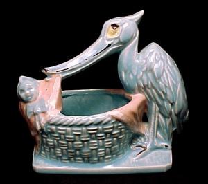Vintage McCoy Pottery 1956 Stork Baby Nursery Line  Planter (Image1)