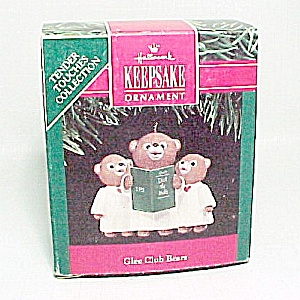 Hallmark 1991 Glee Club Bears Merry Miniatures Christmas Ornament (Image1)