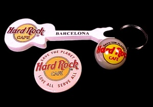 Hard Rock Café Guitar Key Chain Pin Marble Set Lot of 3 (Image1)