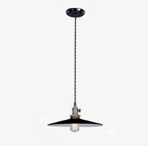 Pendant Light Fixture  w Black 14 in Shade Industrial Style (Image1)