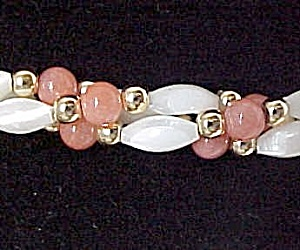 Mother of Pearl Coral Necklace 24 in Beaded 3 Strand (Image1)